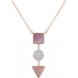 Collier acier rosé  - carré nacre blanche - rond nacre rose - triangle nacre blanche - 40+5cm
