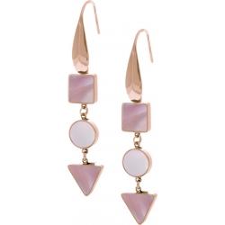 Boucles d'oreille acier rosé  - carré nacre blanche - rond nacre rose - triangle nacre blanche