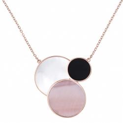 Collier acier rosé - nacre blanche - onyx - nacre rose - 42+10cm