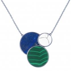 Collier acier - lapis lazuli - howlite - malachite - 42+10cm