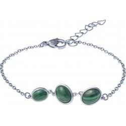 Bracelet acier - 3 cabochons en malachite - 16+4cm