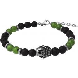 Bracelet STILIVITA en acier - Collection équilibre - YIN & YANG - jade néphrite - pierre de lave - bouddha - 17+4cm
