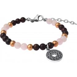 Bracelet STILIVITA en acier - Collection équilibre - ROMANTIQUE - quartz rose - grenat - chakra coeur - 17+4cm