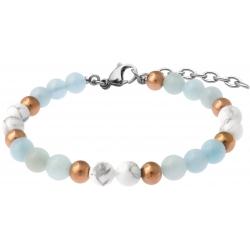 Bracelet STILIVITA en acier - Collection équilibre - PATIENCE & CALME - aigue marine - howlite blanche - 17+4cm