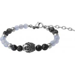 Bracelet STILIVITA en acier - Collection équilibre - RÉCONFORT - calcédoine - obsidienne neige - bouddha - 17+4cm