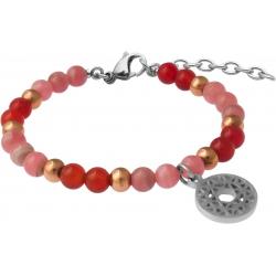 Bracelet STILIVITA en acier - Collection équilibre - AMOUR & POSITIVITTE- rhodocrosite - cornaline - chakra coeur - 17+4cm