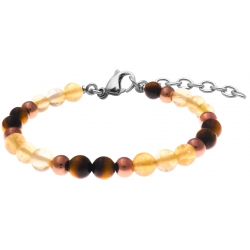 Bracelet STILIVITA en acier - Collection équilibre - CHANCE & ABONDANCE - citrine - œil de tigre - 17+4cm
