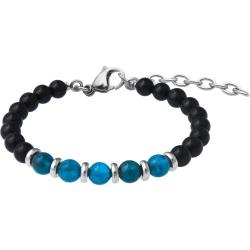 Bracelet STILIVITA en acier - Collection Médecine douce - PERTE DE POIDS HOMME - apatite - tourmaline noire - 17+4cm
