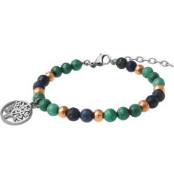 Bracelet STILIVITA en acier - Collection Médecine douce - ARTHRITE - malachite - azurite - arbre de vie - 17+4cm