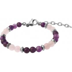 Bracelet STILIVITA en acier - Collection Médecine douce - NUIT PAISIBLE - quartz rose - améthyste - 17+4cm