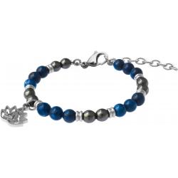 Bracelet STILIVITA en acier - Collection Médecine douce - ANTI DÉPRESSION -  hématite - lapis lazuli - lotus - 17+4cm