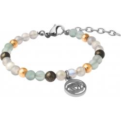 Bracelet STILIVITA en acier - Collection Médecine douce - FATIGUE - fluorite - pyrite - labradorite - chakra 3e oeil - 17+4cm