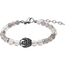 Bracelet STILIVITA en acier - Collection Médecine douce - ACUITÉ MENTALE - labradorite - cristal de roche - bouddha - 17+4cm