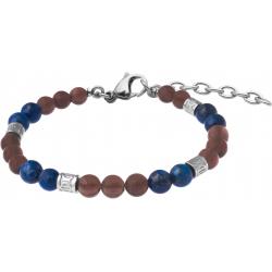 Bracelet STILIVITA en acier - Collection Médecine douce - MAUX DE DOS - quartz fumé - lapis lazuli - 17+4cm