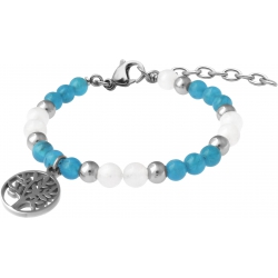 Bracelet STILIVITA en acier - Collection Médecine douce - COUPE FAIM - apatite - pierre de lune - arbre de vie - 17+4cm