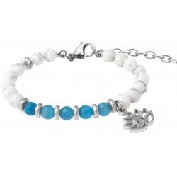 Bracelet STILIVITA en acier - Collection Médecine douce - PERTE DE POIDS FEMME - apatite - howlite blanche - lotus - 17+4cm