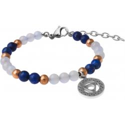 Bracelet STILIVITA en acier - Collection Médecine douce - THYROIDE - lapis lazuli - calcédoine - chakra gorge - 17+4cm