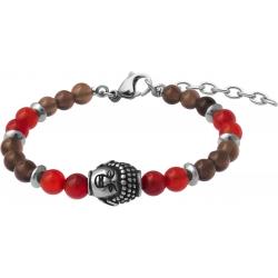 Bracelet STILIVITA en acier - Collection Médecine douce - LIBIDO HOMME - cornaline - quartz fumé - bouddha - 17+4cm
