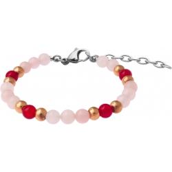 Bracelet STILIVITA en acier - Collection Médecine douce - LIBIDO FEMME - quartz rose - cornaline - 17+4cm