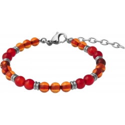Bracelet STILIVITA en acier - Collection Médecine douce - ANTI-ALLERGIES - ambre - cornaline - 17+4cm