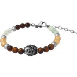 Bracelet STILIVITA en acier - Collection Médecine douce - RÉGÉNÉRATION - citrine - fluorite - œil de tigre - bouddha - 17+4cm