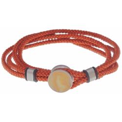 Bracelet double tour acier - corde orange - crazy lace agate 14mm - 41cm