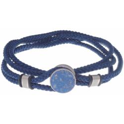 Bracelet double tour acier - corde bleu foncée - lapis lazuli 14mm - 41cm