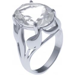 Bague en argent rhodié  6g - cristal de roche - 8,3 carats - T52 à 64