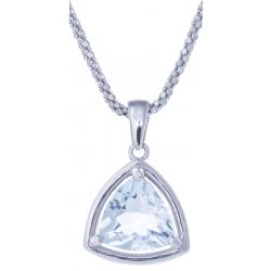 Collier en argent rhodié 4,6g - topaze bleue - 2,8 carats - 45cm