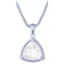 Collier en argent rhodié 4,6g - cristal de roche - 2,2 carats - 45cm