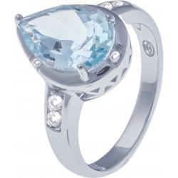 Bague en argent rhodié 3,6g - topaze bleue - 3,4 carats - topaze blanche - T52 à 64