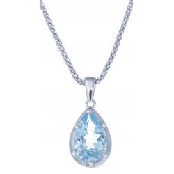 Collier en argent rhodié 4,6g  - topaze bleue - 3,4 carats - topaze blanche - 45cm