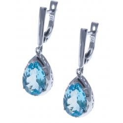 Boucles d'oreille en argent rhodié 4,8g  - topaze bleue - 6,8 carats - topaze blanche