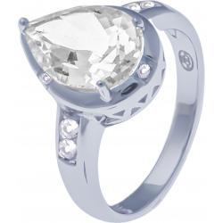 Bague en argent rhodié 3,6g - cristal de roche - 2,7 carats - topaze blanche - T52 à 64