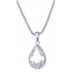 Collier en argent rhodié 4,6g  - cristal de roche - 2,7 carats - topaze blanche- 45cm