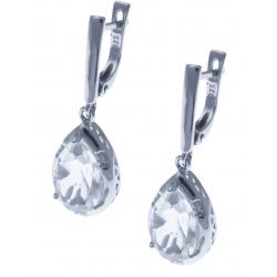 Boucles d'oreille en argent rhodié 4,8g  - cristal de roche - 5,4 carats - topaze blanche