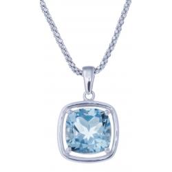 Collier en argent rhodié 6g - topaze bleue - 4,2 carats - 45cm