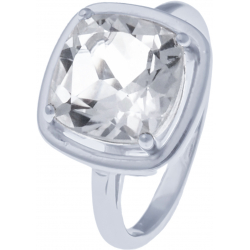 Bague en argent rhodié 4,4g - cristal de roche - 3,8 caratas -  T50 à 64