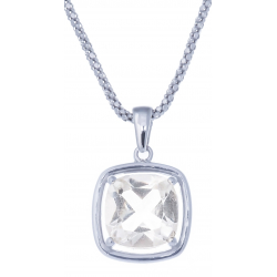 Collier en argent rhodié 6g - cristal de roche - 3,8 caratas - 45cm