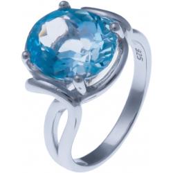 Bague en argent rhodié 4,7g - topaze bleue - 5,9 carats - T52 à 64