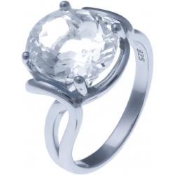 Bague en argent rhodié 4,7g - cristal de roche - 4,2 carats - T52 à 64