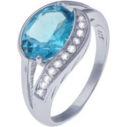 Bague en argent rhodié 3,6g - topaze bleue swiss - topaze blanche - 3 carats - T50 à 64