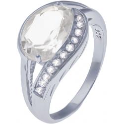 Bague en argent rhodié 3,6g - cristal de roche - topaze blanche - 2,3 carats - T50 à 64