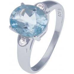 Bague en argent rhodié 2,7g - topaze bleue 2,9 carats - topaze blanche - T50 à 64