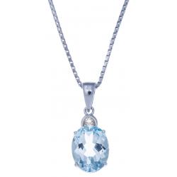 Collier en argent rhodié  3,3g - topaze bleue 3,3 carats - topaze blanche - 40cm