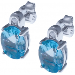 Boucles d'oreille en argent rhodié 3g - topaze bleue 5,8 carats - topaze blanche