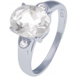 Bague en argent rhodié 2,7g - cristal de roche 2,3 carats - topaze blanche - T50 à 64