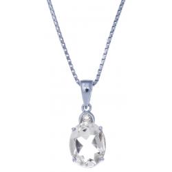 Collier en argent rhodié  3,3g - cristal de roche 2,3 carats - topaze blanche - 40cm
