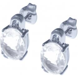 Boucles d'oreille en argent rhodié 3g - cristal de roche 4,6 carats - topaze blanche