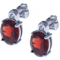 Boucles d'oreille en argent rhodié 3g - grenat 5,8 carats - topaze blanche